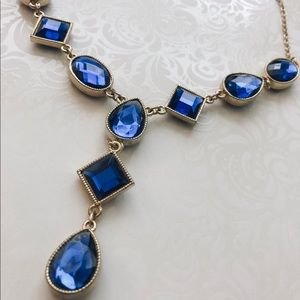 Sapphire Blue Y-Necklace. Costume Jewelry.